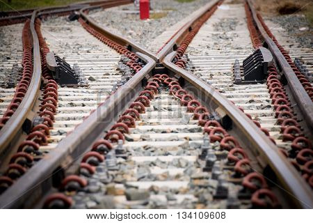 Close Up Crossroad Railway Or Junction Railroad