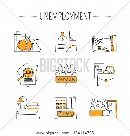 Hand drawn thin line icons set, vector illustration. Unemployment and crisis isolated pictograms. Simple mono linear modern design.
