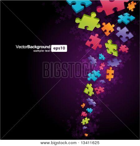 3d colorful puzzle piece vector background