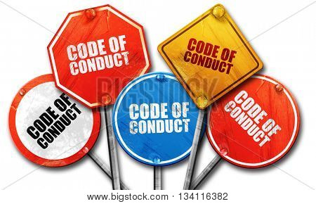 code of conduct, 3D rendering, rough street sign collection