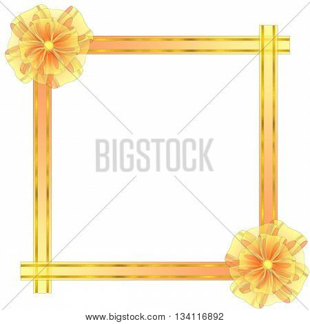 Square Frame from Semitransparent Organza Fabric with Bows and Golden Textured Stripes.Vector.