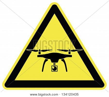 Watch out for Drones. Traffic sign to take care of commercial drones