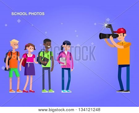 cool detailed character Photographer with camera photographs school children, a boy and a girl