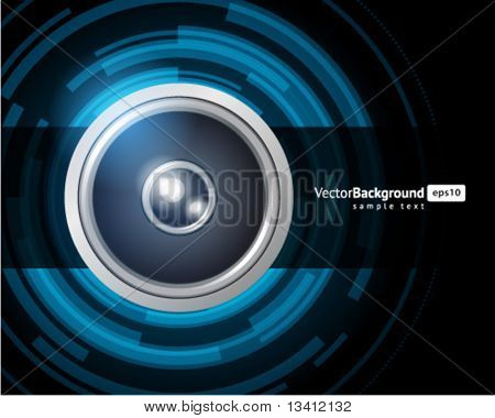 Abstract technology circles with speaker vector background