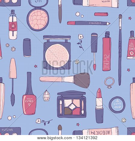 Hand drawn vector seamless pattern of makeup and other cosmetics products. Lipstick mascara shadows and make-up brushes. Serenity background. Fashion and beauty concept