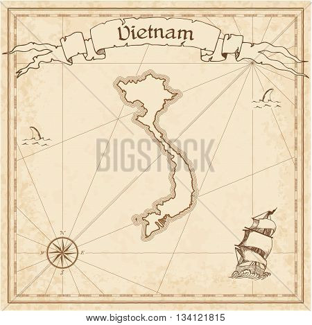 Vietnam Old Treasure Map. Sepia Engraved Template Of Pirate Map. Stylized Pirate Map On Vintage Pape
