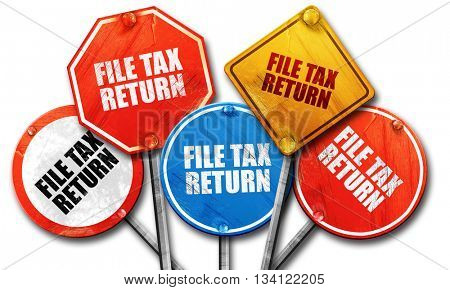 file tax return, 3D rendering, rough street sign collection