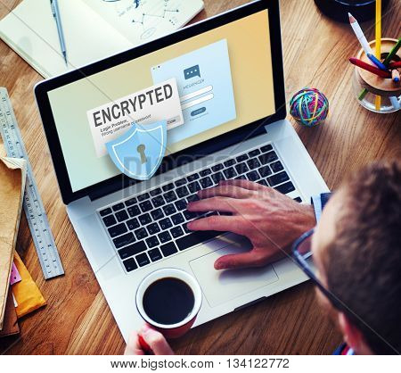 Encrypted Information Data Binary Password Safe Concept