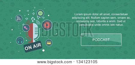 Audio production and podcast. Web banner slider or vector flat background.