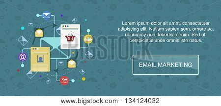 Email marketing. Web banner slider or vector flat background.