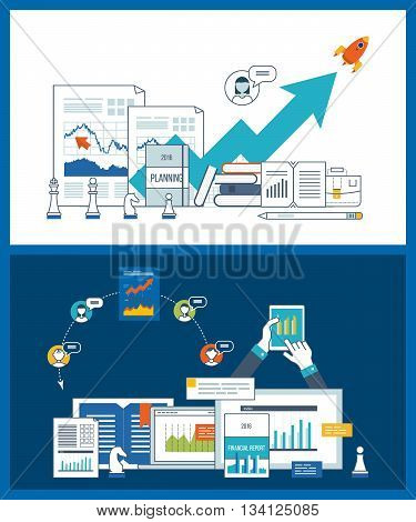 Financial strategy and report. Online education. Concepts for business analysis, financial statement, consulting, teamwork, project management. Training courses for investment. Investment growth.