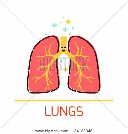 Cute healthy lungs icon made in cartoon style. Lungs cartoon character. Human body organs anatomy icon. Medical human internal organ symbol. Medical concept. Vector illustration.