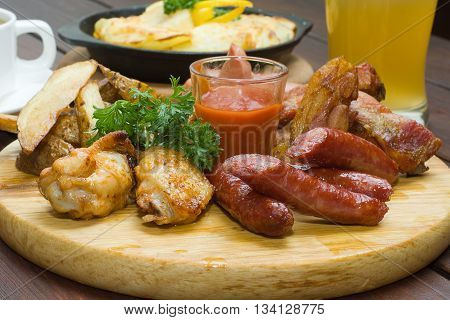 German restaurant food - sausage and grilled meat