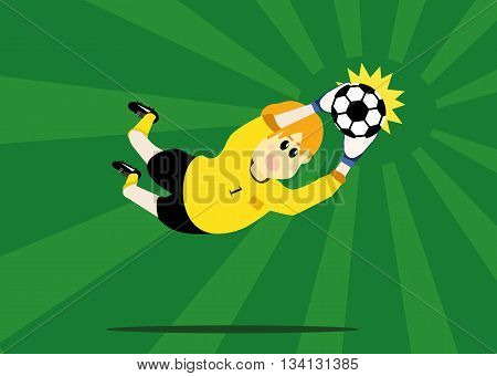 vector illustration cartoon of soccer player goalkeeper catching ball on the green soccer field background. soccer concept eps 10