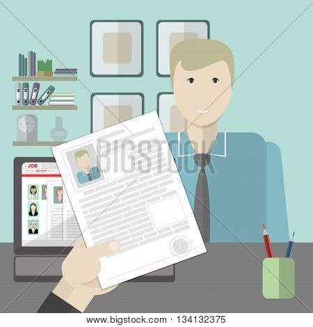 Job interview with man and his resume. Recruitment and hiring candidate. Professional choice. Hire employee. Career in company.