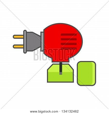 Anti-mosquito fumigator vector icon. Colored line icon of electric fumigator against mosquito