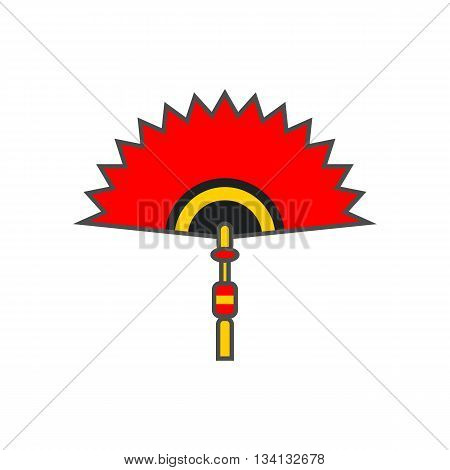 Chinese folding fan vector icon. Colored line illustration of red folding fan