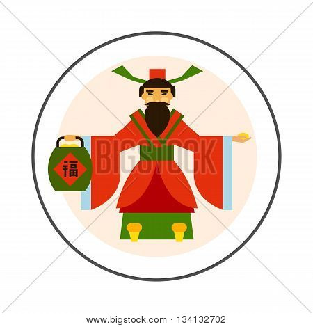 Chinese God of wealth vector icon. Colored illustration of God of wealth holding treasure basket