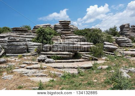 Rock formations in El Torcal de Antequera national park in Spain