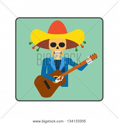 Mariachi skeleton guitar player line icon. Illustration of skeleton figure representing guitar player from Mariachi band