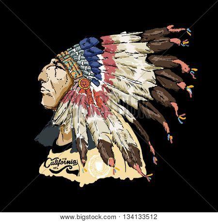 varsity native american racer illustration