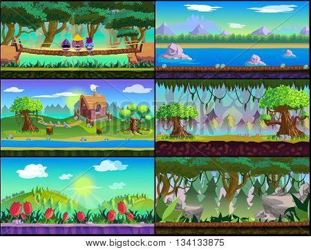 Game Asset , Cartoon Game Backgrounds Set for 2d game application. Vector design.