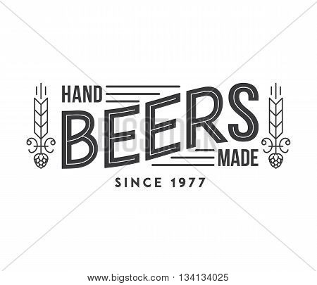 Typographic illustration about artisan hand made beer poster