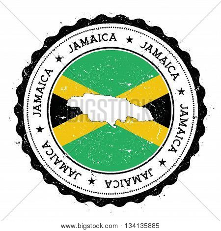 Jamaica Map And Flag In Vintage Rubber Stamp Of State Colours. Grungy Travel Stamp With Map And Flag