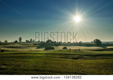 The morning sun illuminates the dewy meadow Summer landscape. Masuria Poland.