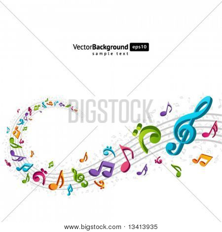 Colorful music background with fly notes. Eps 10