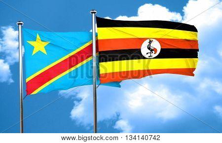 Democratic republic of the congo flag with Uganda flag, 3D rende