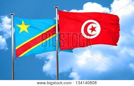 Democratic republic of the congo flag with Tunisia flag, 3D rend