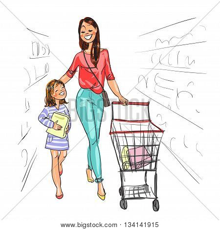 Mother and daughter shopping together. Isolated on white