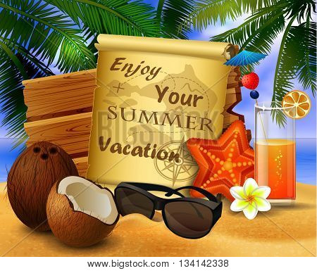 tropical vector background with summer sky and clouds wooden desk old paper coconut glass of orange juice starfish and sunglasses on a sand beach