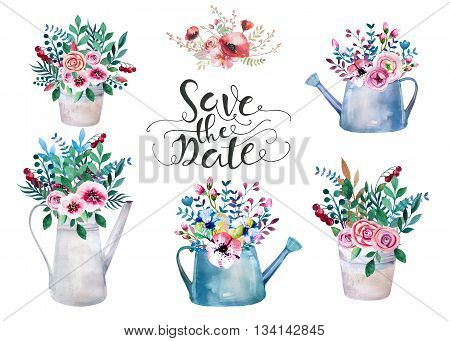 Set of watercolor bouquets . spring flowers in pot. Rustic outdoor floral set . shabby chic style. tulip lavander gardening country design. florist plant decoration. Isolated white. poster