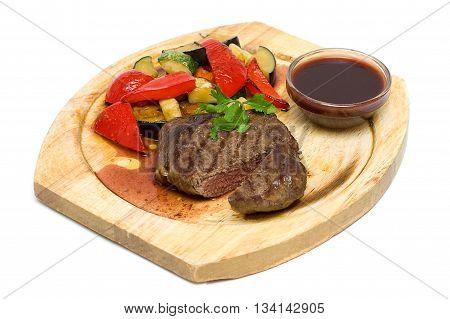 Gourmet Restaurant Food on plate - Steak Isolated