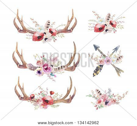 Watercolor bohemian deer horns. Western mammals. Watercolour hipster boho decoration print antlers. flowers feathers. Isolated white background. Boho antler. Hand drawn ethnic wreath design. poster