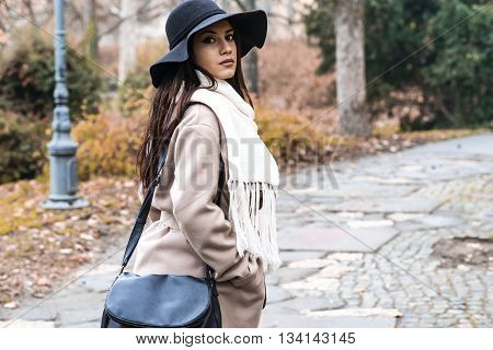 Young Woman At Autumn Park