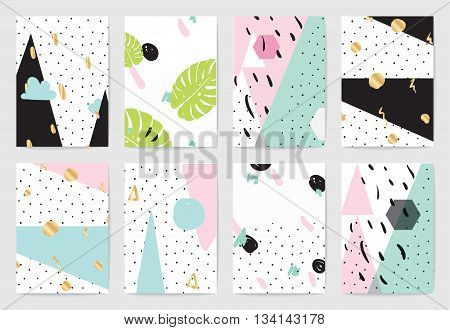 Creative cards set. Geometric abstract hand drawn patterns. Usable as greeting cards, banners, invitations, flyer, posters for holidays, birthday, merriage. Isolated vectors