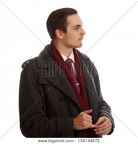 An young adult in formal wear looking sideways