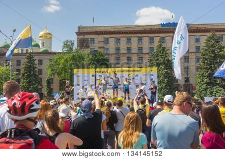 DNEPR UKRAINE - MAY 21 2016:Winners ceremony of the