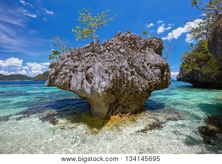 Beautiful stone islands in blue bay. Philippines