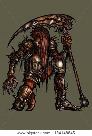 Illustration undead monster in fantasy armor with scythe creature of the darkness army