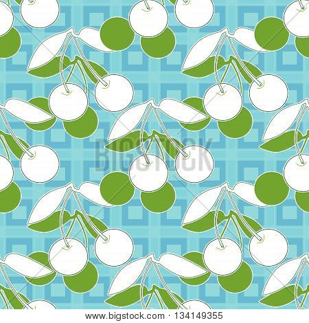Seamless pattern with cherries print background fruit,