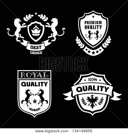 Heraldic premium quality emblems set with royal traditions symbols vector illustration