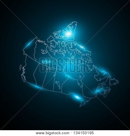 Blue Canada map Neon blured effect Abstract Lyminious with sparkling flash lights