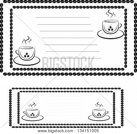 invitation template for a coffee house or cafe, two cups and place for text, stroke of the coffee beans
