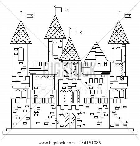 Fairytale royal thin line castle or palace building with various windows, towers and turrets with battlements and flags. Children book, adventure, medieval history themes design poster