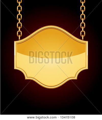 Golden sign on chain. Eps 10