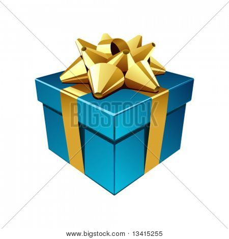 Blue gift with gold bow vector illustration. Eps 10